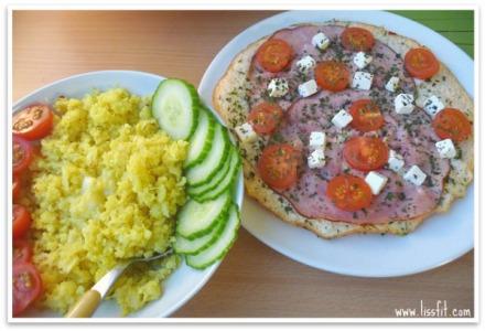 eggehviteomelett skinke blomkalris tomat agurk