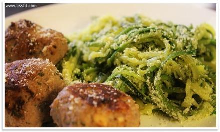 sunne kjøttboller zucchini spaghetti