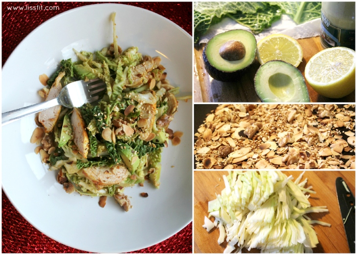 healthy cole savoy slaw avocado chicken nuts ala lissfit