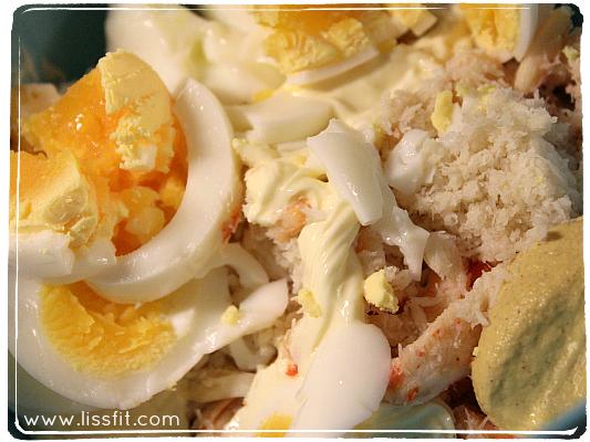 proteinrik sallad med egg tonfisk krabba ala lissfit