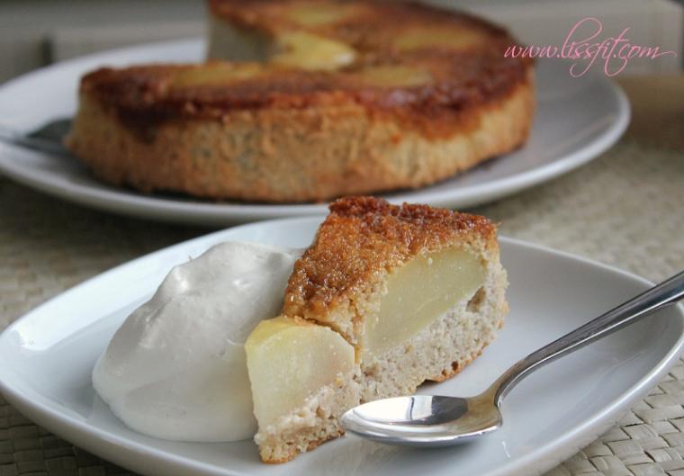 glutefri up och ner mandel tårta karamell päron ala lissfit