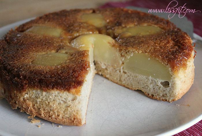 glutenfri opp ned mandel kake karamell pærer ala lissfit