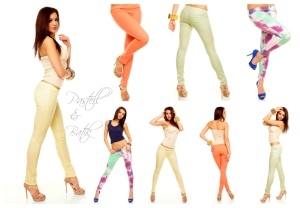 pastel batik byxor leggings treggings sportychic