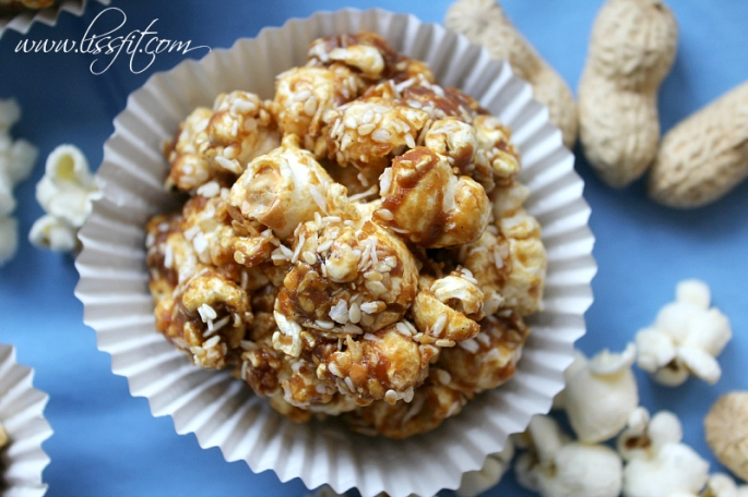 popcorn balls yacon sirup coconut peanut butter sesame ala lissfit