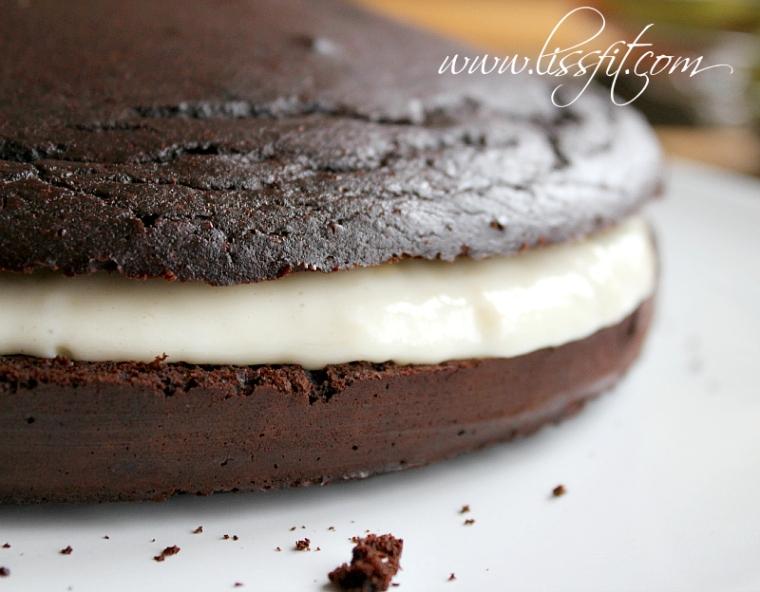 nyttig chokladtårta banana cheese fyllning lissfit
