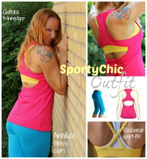 foto collage rosa träningstopp gul vit tränings BH turkos capri byxa sportychic sweden