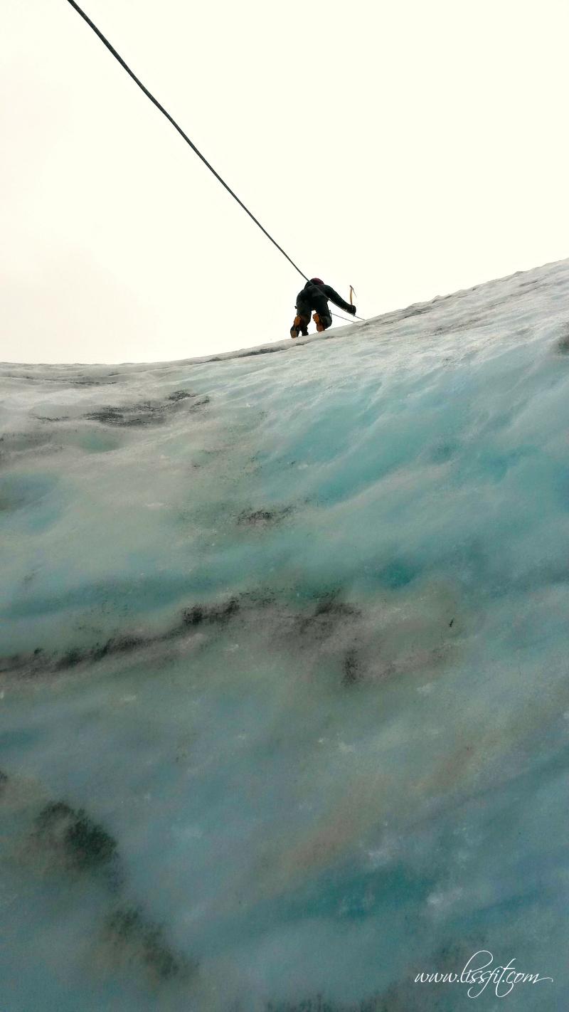 Isklättring lissfit solheimajokull glaciär Island