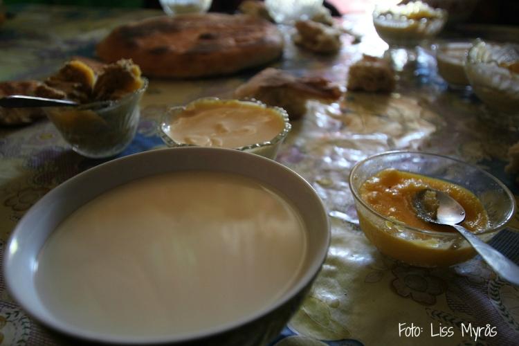 Kirgisistan frukost i yurta liss