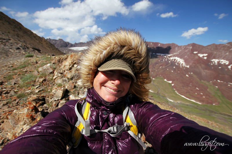 selfie on mountain ridge Kyrgyzstan lissfit