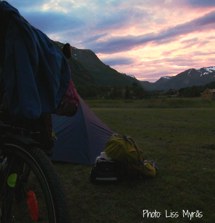 Geiranger tent camping bike tour sunset photo liss myrås