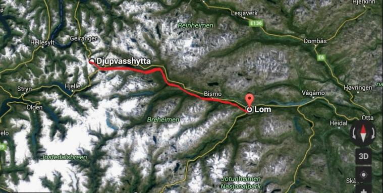 Norway bike map djupvasshytta lom bicicyle tour part 2 breheimen jotunheimen reinheimen liss myras