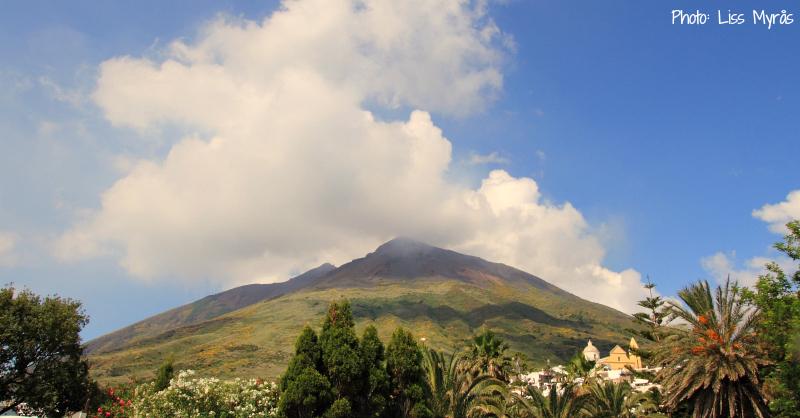 stromboli vulcano village church mountain landscape view photo liss myraas