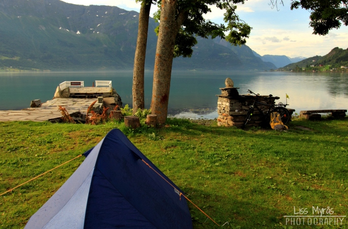 Luster fjord tent camping bicycle tour visit Norway photography liss myraas