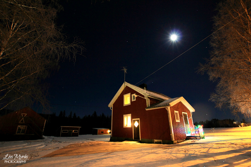 FARM HOUSE STUGA TORPNORTHERN SWEDEN WINTER NIGHT PHOTO LISS