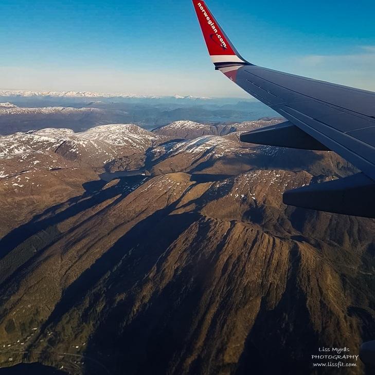 Norwegian flight Bergen view Norway travel