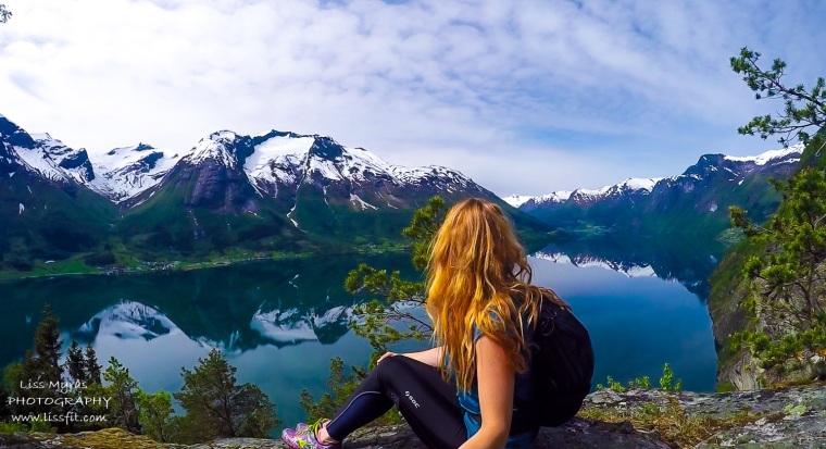 Norway nature lake hiking mountain pastures Nordfjord panorama mountains