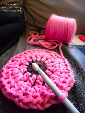 granny square crochet chunky yarn pink