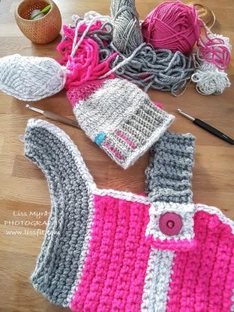 crochet reflex dog vest sweater messy bun beany