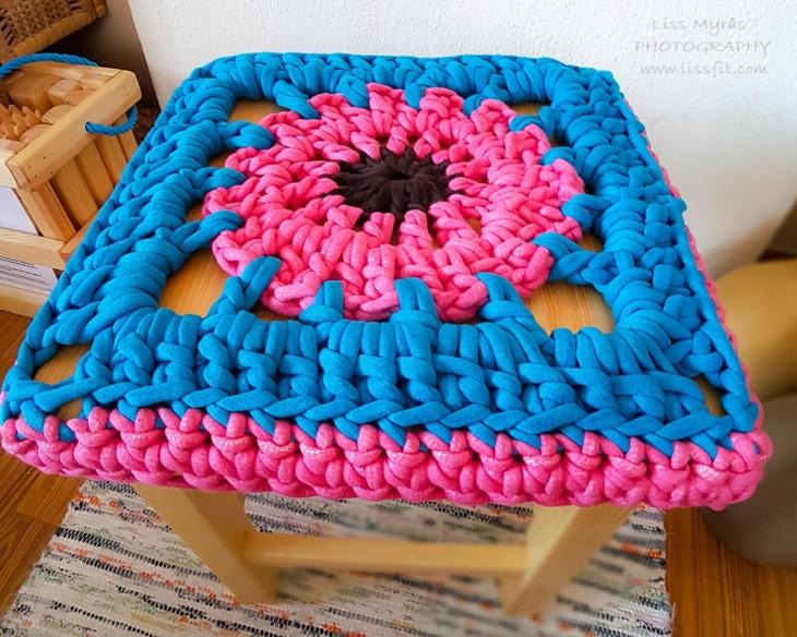 crochet stool cover granny square seating stoltrekk sittdyna överdrag