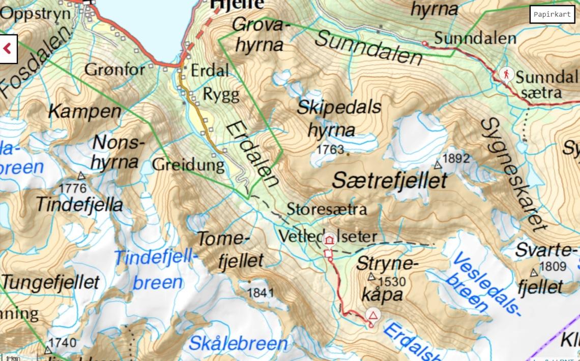 kart map oppstryn erdalsetra storesæter vetledalsetra trail sti jostedalsbreen