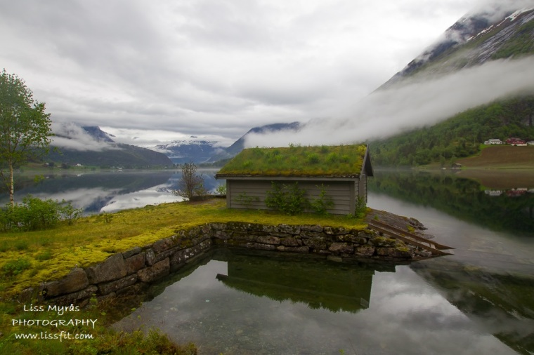 Boat house lake naust Norway