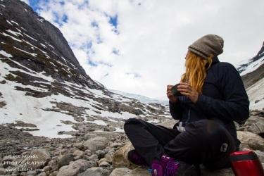 Having a warm meal at the Bødalsbreen glacier