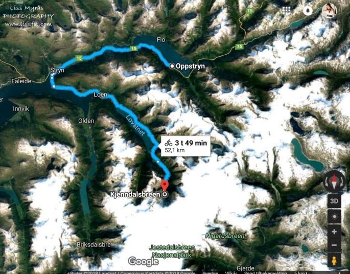 Map Oppstryn Stryn Loen Kjenndalsbreen bicycle trip