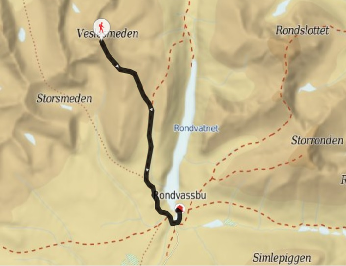 map kart rondvassbu Veslesmeden