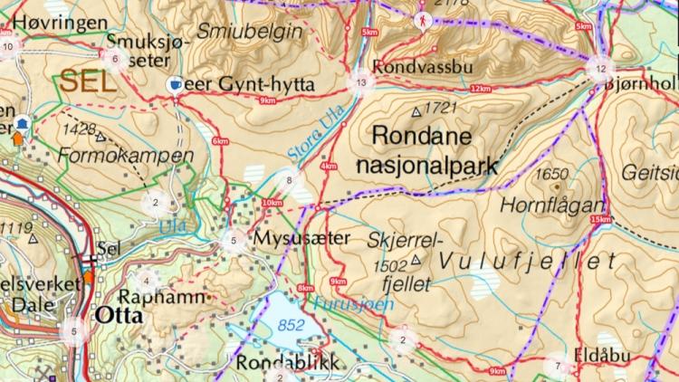Map kart Rondane National Park Mysusaeter Veslesmeden Rondablikk Furusjoen Rondvassbu Rondvatnet