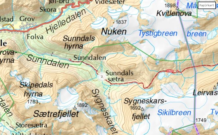 map kart sunndalen sunndalssetra hike trail tur stryn