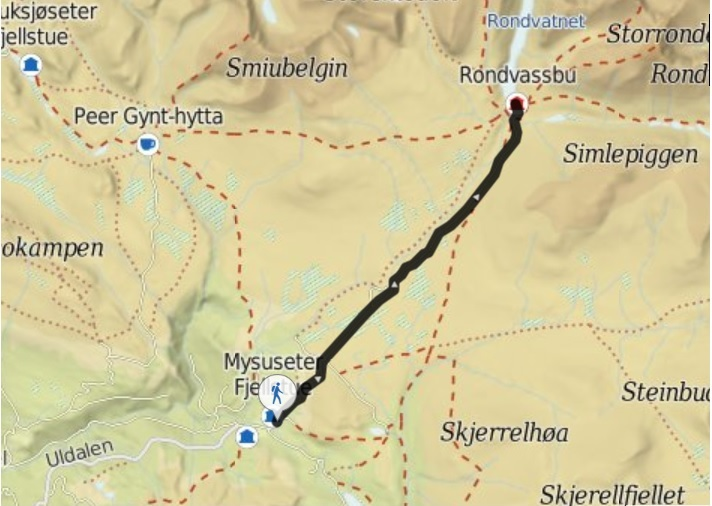 map kart rondvassbu veslesmeden topptur