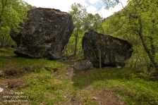 You will pass PineGuri-steinen - the legend tells that 2 of the 3 young sheperdess died of starvation, fatigue and coldness after crossing the mountains, one of them died here at this stone.