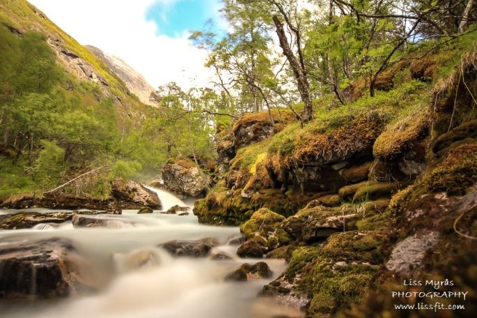 sunndola river waterfall stryn sunndalssætra hiking landscape nature moss norway trail