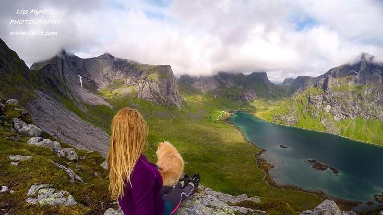 Helvetestinden Kirkefjorden finsk lapphund hiking vandring fjelltur lofoten Reine Moskenes