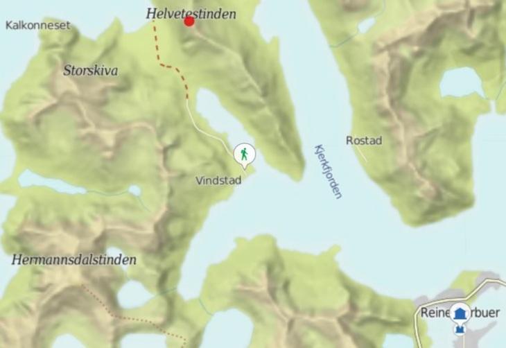 map kart Reine Moskenes Vinstad Bunes beach Helvetestinden