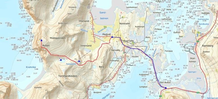 map ryten carte fredvang lofoten
