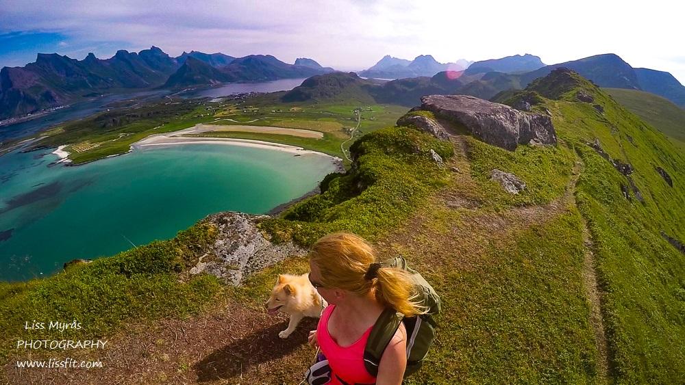 Yttersandheia Lofoten Fredvang beach landscape photography trail hike mountain landscape lapphund friluftsliv