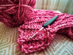 The yarn and hook in progress