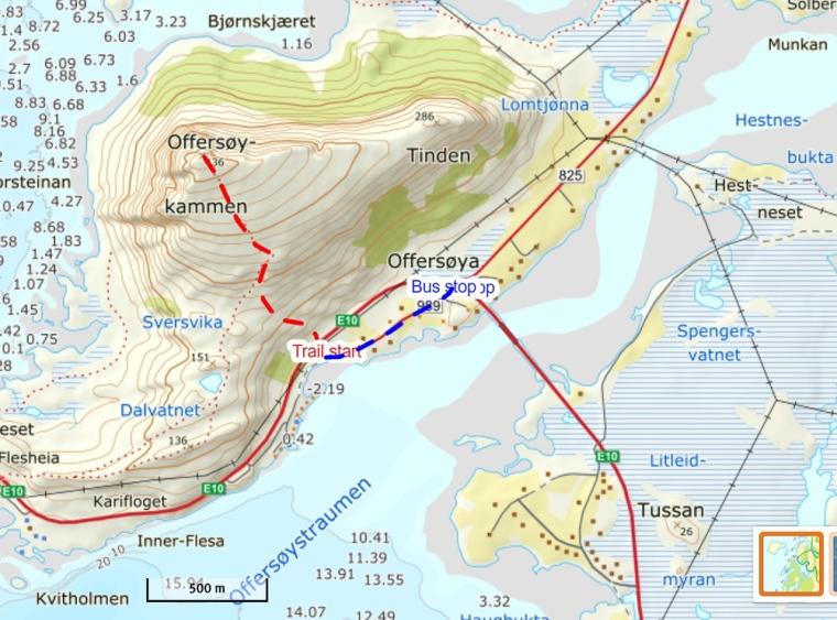 map kart hike offersøykammen lofoten