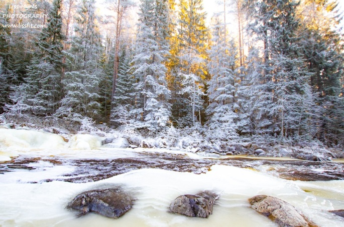 winter wonderland landscape ice frost icy river norrland trail north sweden nature