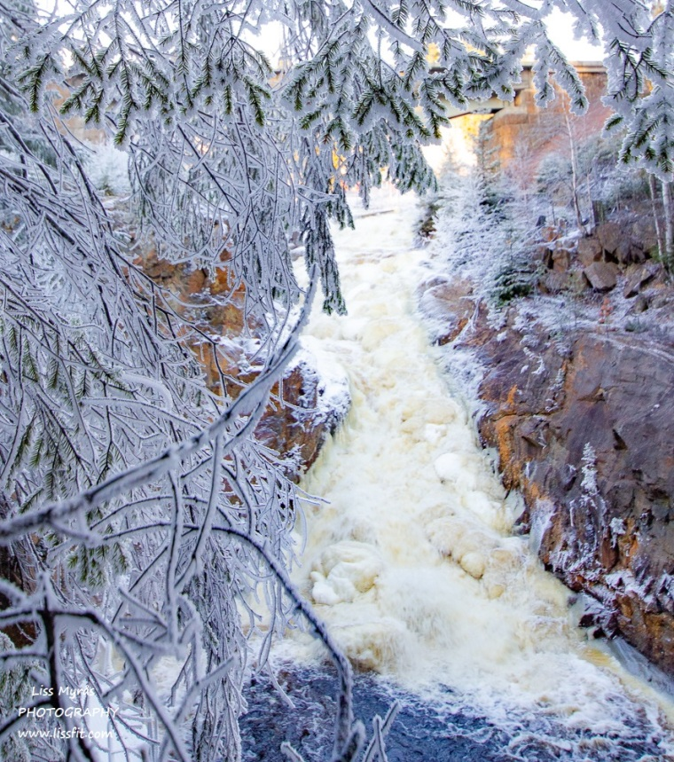 winter wonderland landscape ice frost waterfall norrland trail north sweden nature