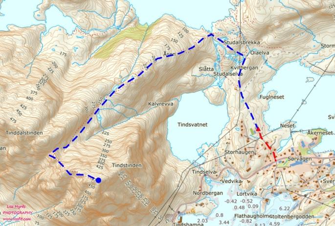 Map Lofoten Tindstinden trtail hike kart