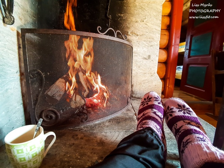 Mysusaeter seterhytte by the fire relax Norwegian socks mountain cabin
