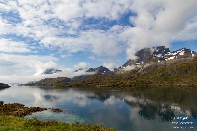 Lofoten landscape bridge morning fog mountains fjords beautiful norway