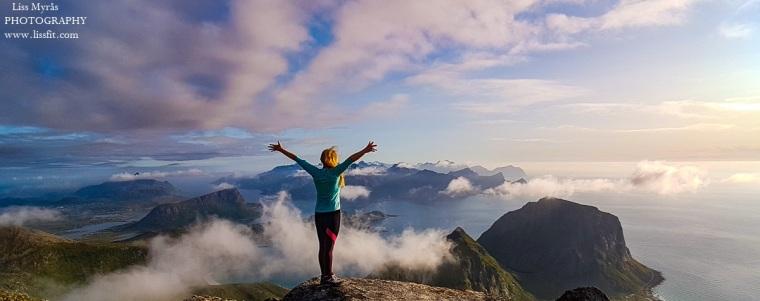 Himmeltindan scenic landscape Lofoten climb