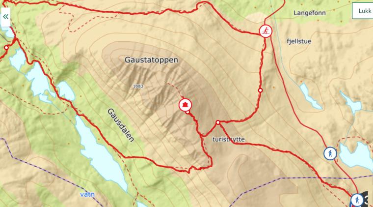 gaustatoppen kart map info utno
